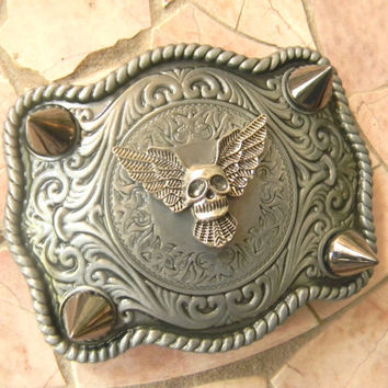 Silver Skull Belt Buckle, Studded Belt Wings, Skull, Spikes And Studs,Silver Spike, Mens Womens Western Belt Buckle,Biker Babe Custom Buckle