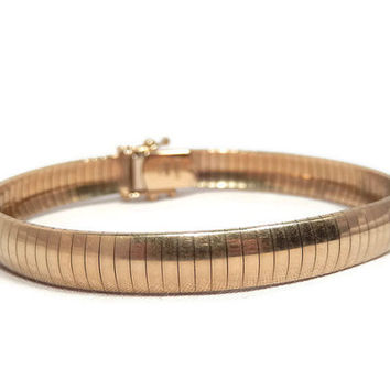 Solid 14 kt yellow gold Omega bracelet, Aurafin Italy