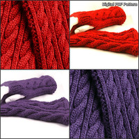 Cabled Scarf And Fingerless Gloves Set Easy PDF Knitting Pattern. Unisex Depending on Colors. Is not a finished product.