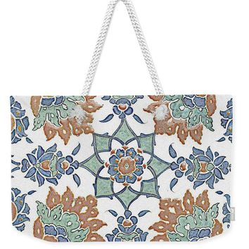 An Ottoman Iznik Style Floral Design Pottery Polychrome, By Adam Asar, No 13k - Weekender Tote Bag