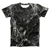 The Black Scratched Marble ink-Fuzed Unisex All Over Full-Printed Fitted Tee Shirt