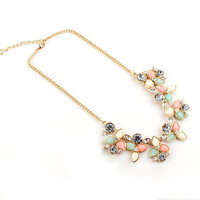 Pink Rhinestone Necklace with Leaf Pattern Pendant