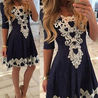 FASHION LACE V-NECK DRESS