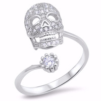 Sterling Silver CZ Simulated Diamond Memento Mori Skull Ring