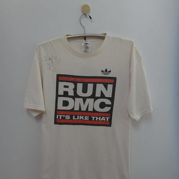 Vintage Adidas Run Dmc 1998  Signed By DMC and Jam Master Jay Live In Herne German T Shirt Rare Autographed tshirt Hip Hop Concert Tour tee