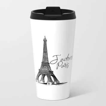 TYPOGRAPHIC ART - J'adore Paris, Paris, Typography Wall Art, Printable Art Metal Travel Mug by NikolaJovanovic