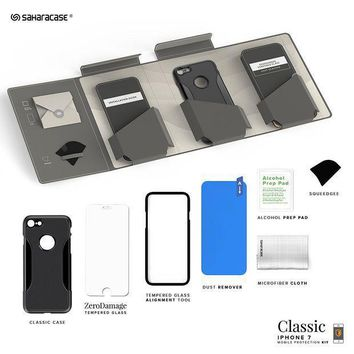Iphone 7 Case Saharacase Protective Kit Bundle With [zerodamage Tempered Glass Screen Protector] Rugged Protection Anti Slip Grip [shockproof Bumper] Slim Fit   Black Gray