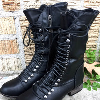 An Everyday Mid Calf Combat Boot in Black