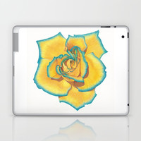Yellow and Turquoise Rose Laptop & iPad Skin by drawingsbylam