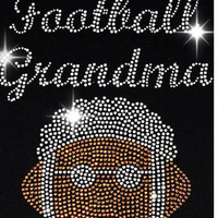 Football rhinestone transfer - iron on hotfix football grandma heat transfer - DIY hot fix football nana motif appliqué