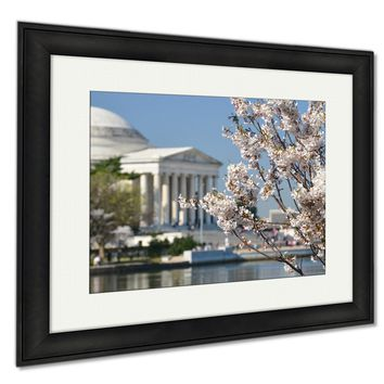 GP Framed Prints Spring In Washington Dc Cherry Blossom Festival At Jefferson Memorial Wall Art Decor Giclee Photo Print In Black Wood Frame, Soft White Matte, Ready to hang 16x20 art