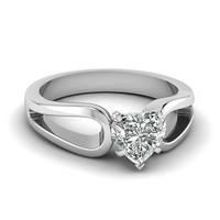 AMAZING 2.80CT WHITE HEART 925 WHITE STERLING SILVER ENGAGEMENT AND WEDDING RING
