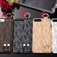 Luxury brand printing English letters leather texture Wrist strap buckle case for iphone X 7 7plus 8 8plus hard back cover for 6S 6 6 plus