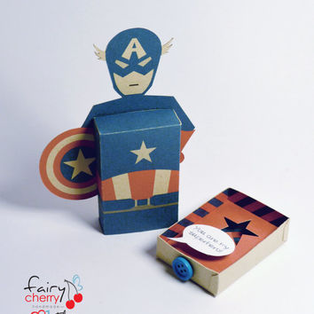 Captain America emotibox - Customized geek paper box for season greetings, birthday wishes, expressing emotions