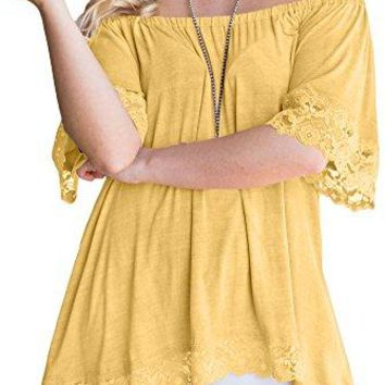 For G and PL Womens Off The Shoulder Shirts Ruffles Lace Trim Irregular Tunic Tops