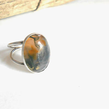 Montana Moss Agate Ring, Vintage sterling, double band modernist sterling ring Sz8