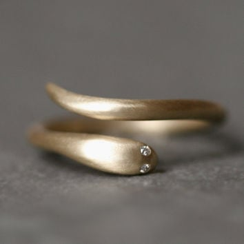 Baby Snake Ring in 10K Gold with Diamonds