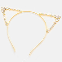 Gold Metal Pave Crystal Rhinestone Floral Cat Ear Headband