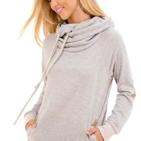 Cowl Neck Patches Pullover