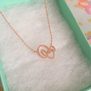 SALE-Valentine's Day Knot Rose Gold Heart Necklace,Women's Necklace,Heart Necklace,Knot Heart,Cute Necklace,Bridesmaid Gift,Dainty Necklace