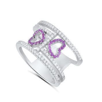 Sterling Silver Cz Double Heart Statement Ring