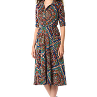 Scarf print jersey knit belted shirtdress