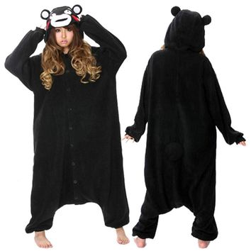 Kigurumi Adult Black Bear Kumamon Onesuit Cosplay Costume Pajamas Sleepwear For Women Men