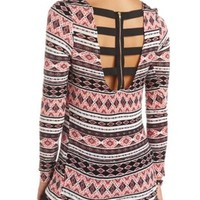 Cage-Back Tribal Print High-Low Top by Charlotte Russe - Multi