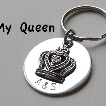 Crown Keychain, Hand Stamped Custom Anniversary Gift,  Queen Crown Key Ring, King Crown Keychain, Fairytale, Stainless Steel 11 Year Gift