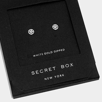 White Gold Dipped Smile Stud Earrings With Secret Box