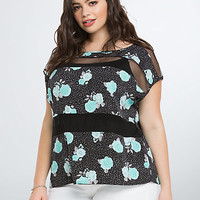 Floral Mesh Panel Top