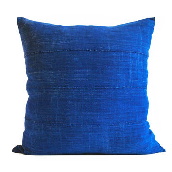 vibrant indigo vintage mud cloth pillow