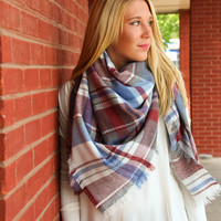 White, Blue, Red and Gray Blanket Scarf