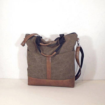 Canvas shoulder bag brown, waxed canvas tote, zipper crossbody purse brown, canvas hobo bag, day bag, crossbody bag for women, day bag brown