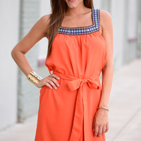 Tied To Perfection Dress, Orange