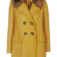 Faux Fur Collar Wool Blend Coat