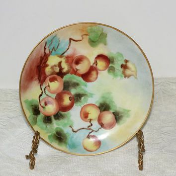 "Vintage Plate Haviland France | Porcelain Decorator Plate Gold Leaf Rim | Display Plate Peach or Apple Design 7.75""W 