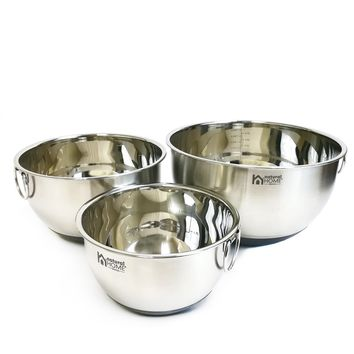 3 Pc Stainless Steel Mixing Bowl w/Ring Handle