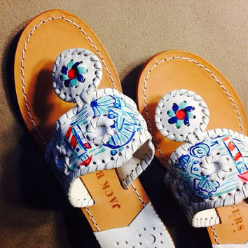 "Lilly Pulitzer Inspired Custom Hand-Painted Jack Rogers Look-Alikes in ""Watch Out""/""Good Reef""/""She She Shells"" Combo"