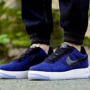 ONETOW Nike Air Force 1 Flyknit Af1 817419-400 Blue For Women Men Running Sport Casual Shoes Sneakers
