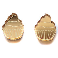 Gold Cupcake Stud Earrings