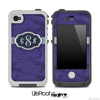 The Inverted Blue Vintage Polka Dotted Custom Monogram Skin for the iPhone 4 or 5 LifeProof Case