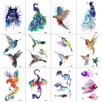 WYUEN 12 PCS Bird Hummingbird Temporary Tattoo Sticker for Women Men Body Art Adults Waterproof Hand Fake Tatoo 9.8X6cm W12-13