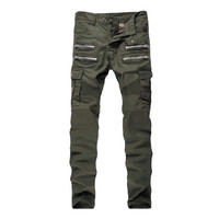 ABOORUN 2016 Mens Skinny Ripped Biker Jeans Multi Pockets Cargo Pant Army Green Mens Pleated Pencil Jeans P2086