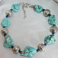 Cowgirl Turquoise Statement Necklace, Lapis Lazuli Western Necklace
