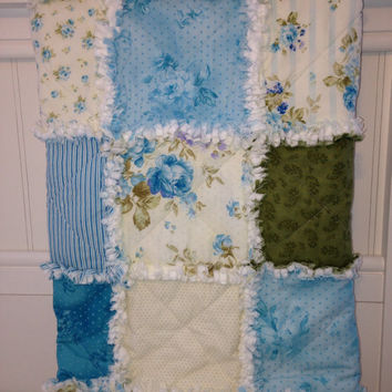 Rag Quilt, Lap Quilt, Throw Quilt, Cottage Chic, Shabby Style, Zoey Christine,Turquoise, White, Green, Handmade 48 X 62, Ready To Ship,