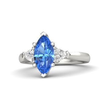 Marquise Blue Topaz Palladium Ring with White Sapphire