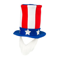 Stars and Stripes Uncle Sam Hat with Removable Beard