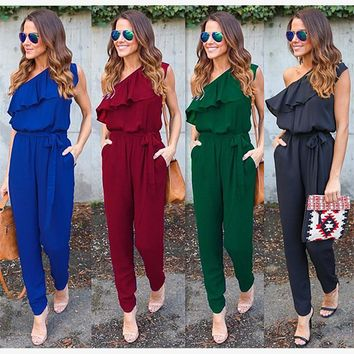 Jumpsuits Ruffle One Shoulder Chiffon Bandage Casual Ladies Rompers