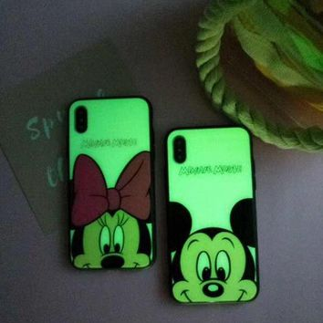 Noctilcent Cartoon Mickey Mouse Phone case For iphone 8 plus Case For iphone X 6S 6 7 8 Plus Smooth glass Back Cover Shell Cases